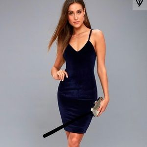 lulus navy blue velvet bodycon dress